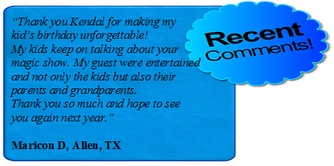 Magician Kendal Kane of Dallas uses comedy entertainment for children birthday party