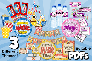 Red Oak Birthday party magic theme printables