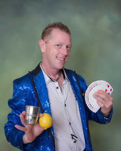 Pure sleight of hand magic and manipulation for Kaufman magic clown party entertainment